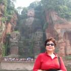 Yueh Chen Chung at Big Buddha of Leshan (Maitreya Buddha) site Sichuan Province, China.