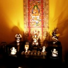 Jim Yeh's Altar. The Life Story of Lama Tsongkhapa Thangka was a gift from H.E. Tsem Rinpoche.